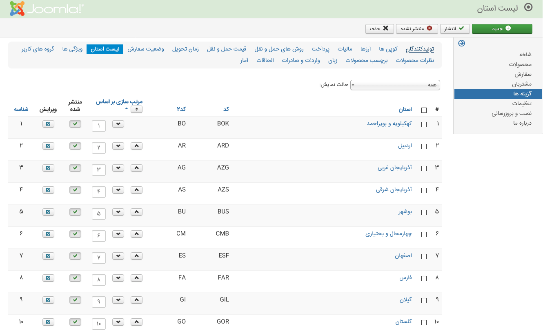 مدیریت فارسی جومشاپینگ - لیست استان ها